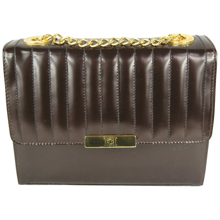 1990s Brown Leather Ribbed Escada Kelly Hand Bag Never Worn  For Sale