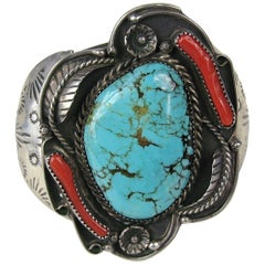 Old Pawn NAVAJO Sterling Silver Coral & Turquoise CUFF BRACELET Totem
