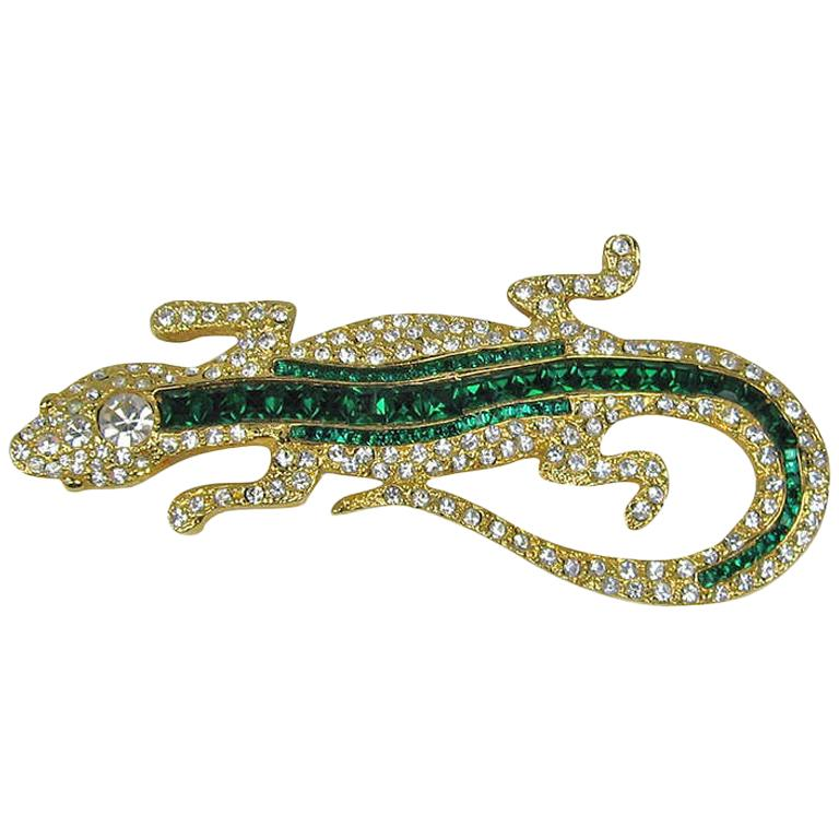 1990s Valentino Lizard Crystal Brooch NEW Never Worn  For Sale