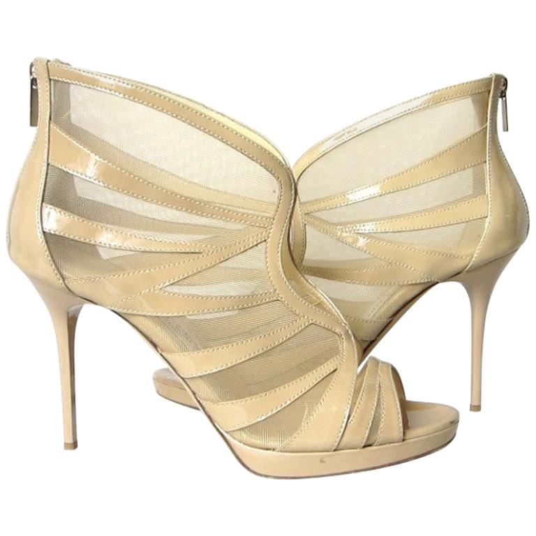 014ca54b43 Jimmy Choo Beige Patent Leather Shoes 39.5 For Sale at 1stdibs