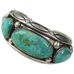 Southwestern Orville Tsinnie Navajo Silver Turquoise Cuff Bracelet
