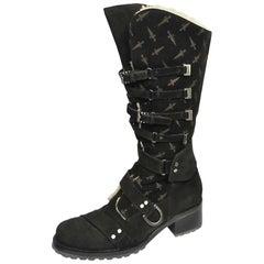 Cesare Paciotti Signature Buckle Strap Black Suede Boots In Box