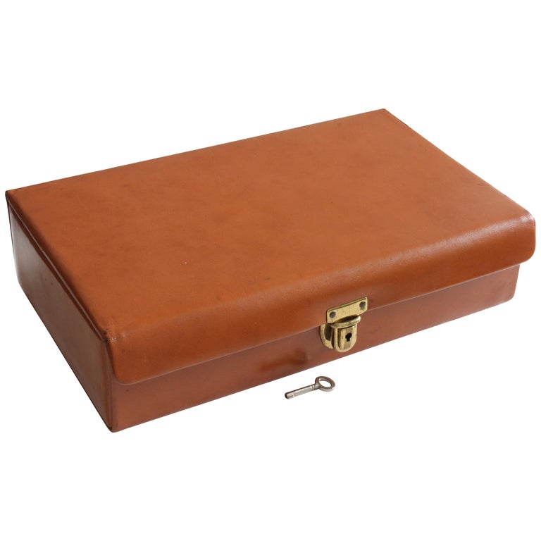 Saddle Leather Jewelry Box Dresser Valet Travel Case with ...