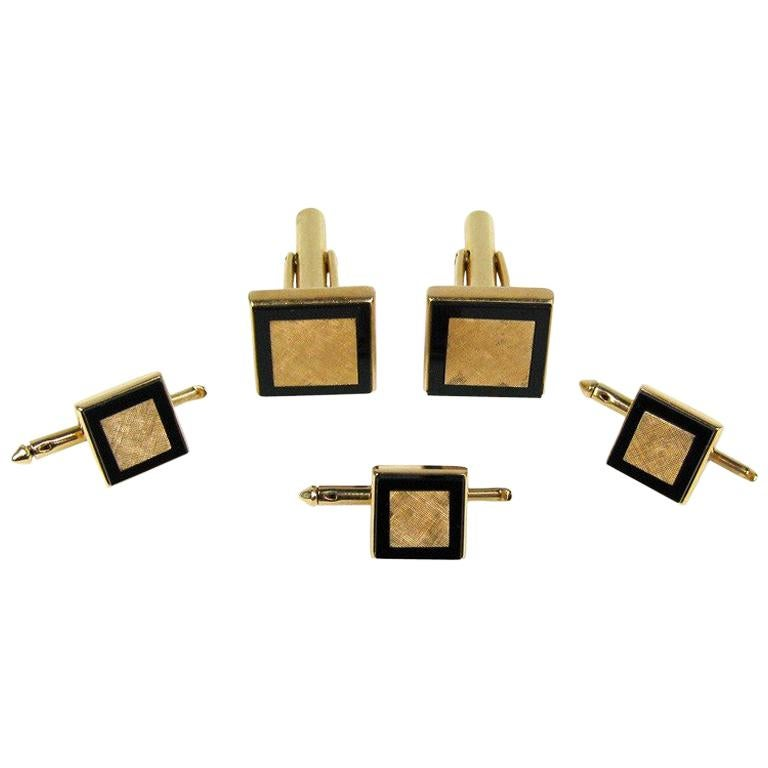 Mid Century Gold & Onyx Cuff link & Shirt Stud Set For Sale