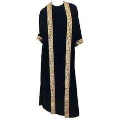 1960s Bonwit Teller Black Velvet Paisley Vintage 60s Moroccan Caftan Maxi Dress
