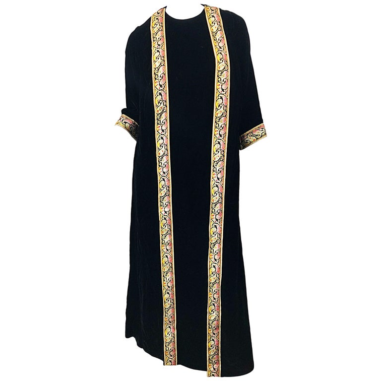 1960s Bonwit Teller Black Velvet Paisley Vintage 60s Moroccan Caftan Maxi Dress For Sale