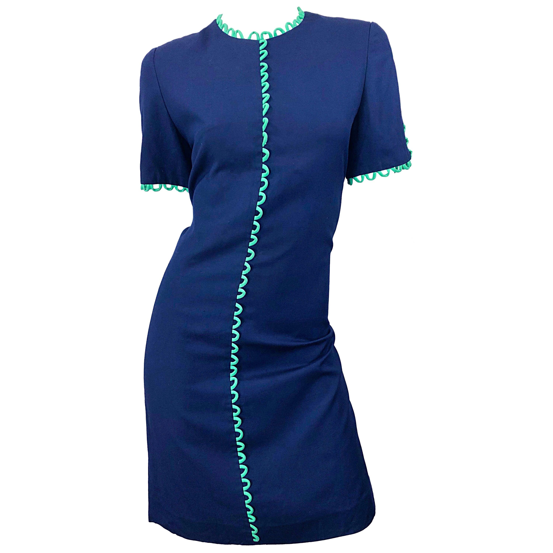 Vintage Carolina Herrera Size 6 / 8 Chic Navy Blue + Green Ric Rac 1990s Dress