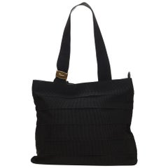 Ferragamo Black Tiered Grosgrain Tote