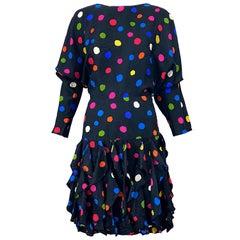 Amazing 1980s Avant Garde Black Colorful Silk Polka Dot Flutter Skirt 80s Dress