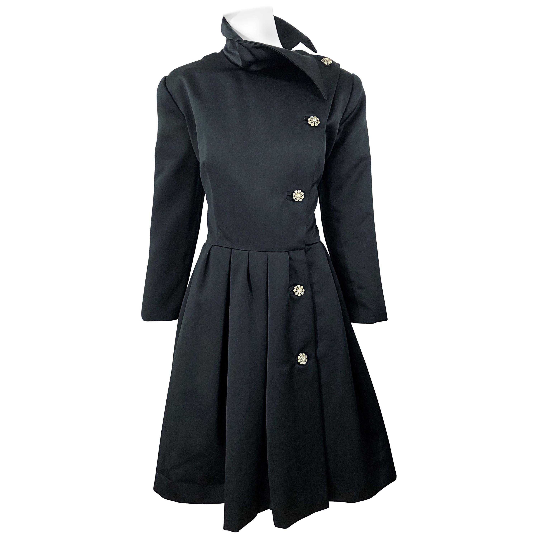 Vintage Victor Costa Size 12 Black Avant Garde Rhinestone Cocktail Dress