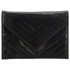 YSL Black Leather V Stitch Clutch