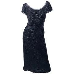 Stunning 1950s Bullock's Wilshire Size 14 Black Silk Sequined 50s Midi Dress