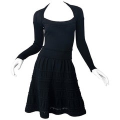 New w/ Tags D. Exterior Italian Made Black Lightweight Wool Knit Skater Dress