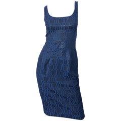 Michael Kors Collection Size 2 Navy Blue Black Metallic Sleeveless Sheath Dress