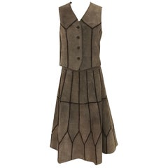 Neiman Marcus Italy Brown Suede Vest Chevron Print and Skirt set, 1970s