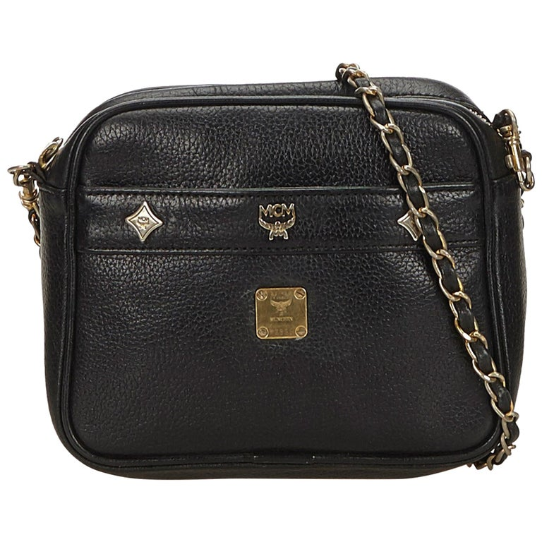 Mcm Black Leather Chain Crossbody Bag For