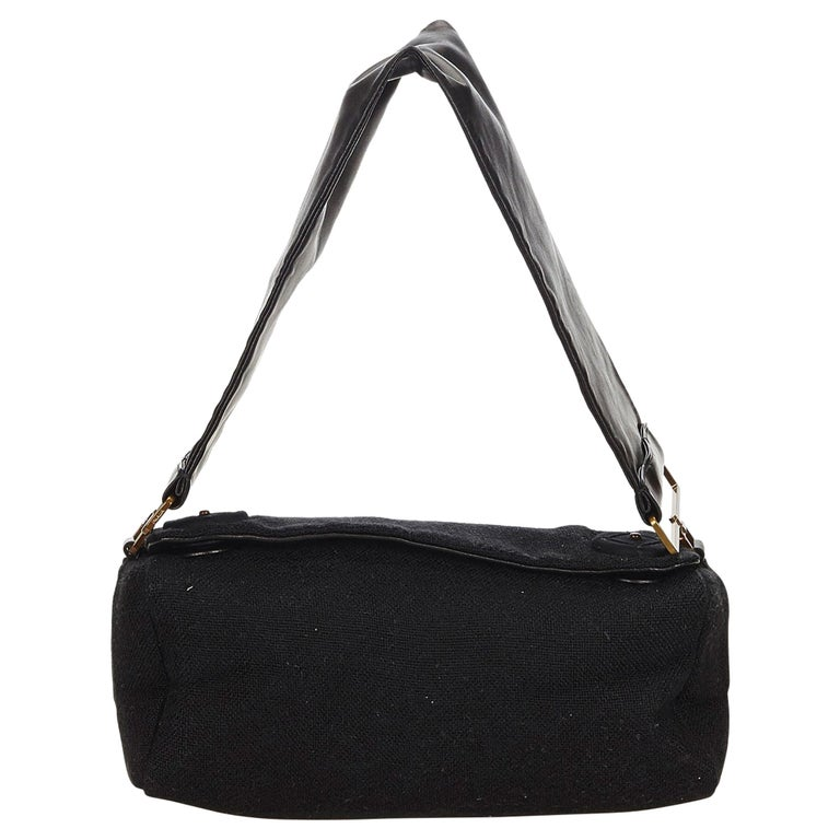 532422af9383 Prada Black Canvas Shoulder Bag at 1stdibs
