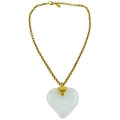 Yves Saint Laurent YSL Vintage Glass Heart Pendant Necklace