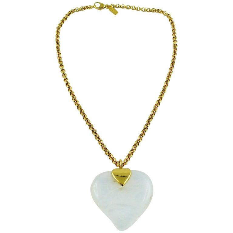 5277f5bd802 Yves Saint Laurent YSL Vintage Glass Heart Pendant Necklace For Sale ...