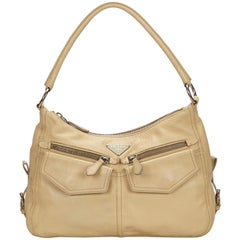 Prada Brown x Beige Leather Handbag