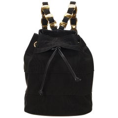 Ferragamo Black Tiered Grosgrain Drawstring Chain Backpack