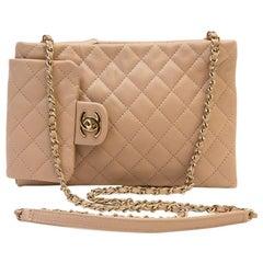 Chanel Pink Beige Lambskin Leather Clutch Bag