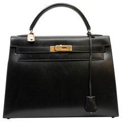 Hermes Vintage Black Box Leather Kelly 32 Bag