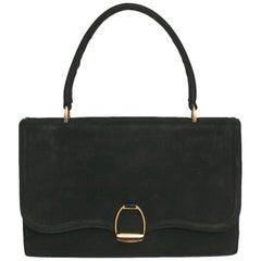 HERMES Vintage Etrier 24 Faubourg Saint-Honoré Tasche aus Schwarzem Veloursleder