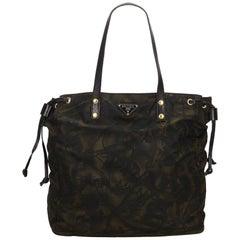 Prada Black Camouflage Nylon Drawstring Tote Bag