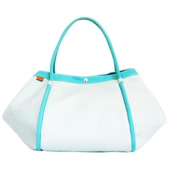 HERMES Beach Bag in Azure and Blue Sky Colors Canvas