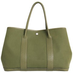 HERMES Garden Party Bag in Khaki Canvas and Clémence Taurillon Leather