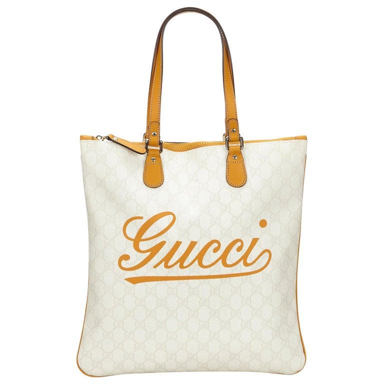 a02ecd17eb9 Gucci White and Orange Guccissima Shoulder Bag at 1stdibs