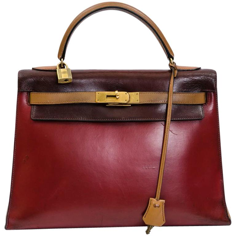 HERMES Kelly 32 Vintage Bag in Tricolor Box Leather