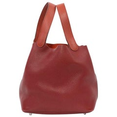 Hermes Picotin Bag in Two-Tone Red H and Red Casaque Clémence Taurillon Leather