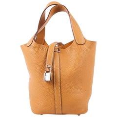 Hermes Picotin Tasche aus Senffarbenem Lammleder
