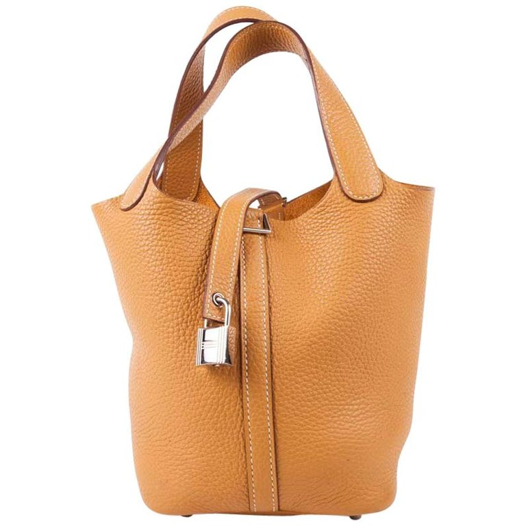 Hermes Mustard Color Lamb Leather Picotin Bag For