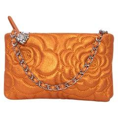 Chanel Orange Velvet Iridescent Leather Clutch