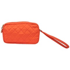 Chanel Orange Satin Clutch