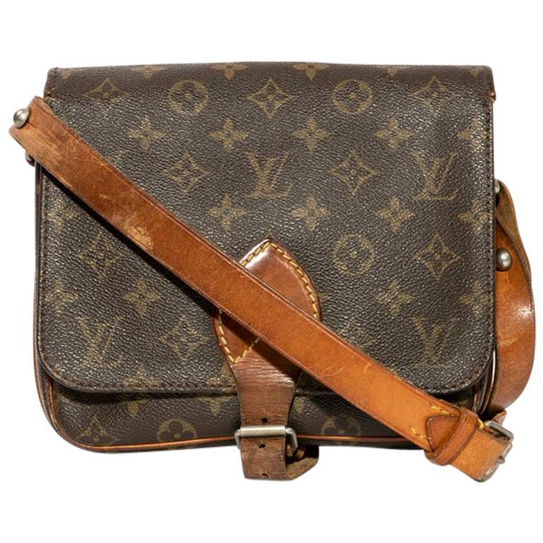 bce159a0f083 Louis Vuitton Vintage Brown monogram Canvas and Natural Leather Satchel Bag  For Sale