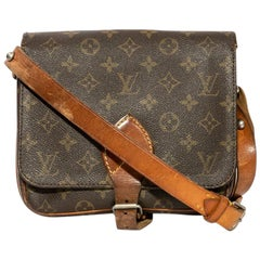 LOUIS VUITTON Vintage Satchel Bag in Brown monogram Canvas and Natural Leather