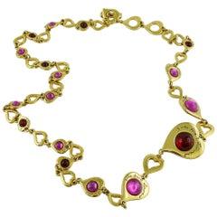 Yves Saint Laurent YSL Vintage Glass Signature Heart Links Sautoir Necklace