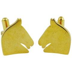 Hermes Vintage Gold Getönte Pferdesport Manschettenknöpfe