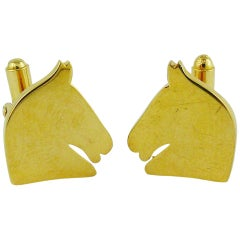 Hermes Vintage Gold Toned Equestrian Cufflinks