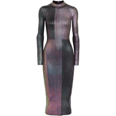 Christopher Kane Metallic Ribbed Knit Midi Dress