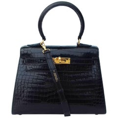Hermes Noir Black Porosus Crocodile GHW 20 cm Mini Kelly Sellier Bag