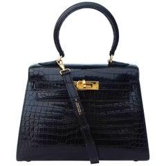 Hermès Mini Kelly Vintage Bag Sellier Black Croco Crocodile Ghw 20 cm RARE