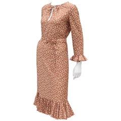 Jane Andre of California Beige Polka Dot Jersey Dress With Ruffle Hem, c 1970