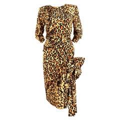 Yves Saint Laurent leopard printed silk runway dress, 1986