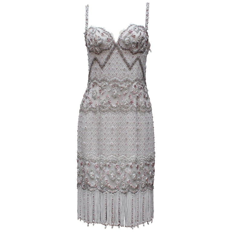 Emanuel Ungaro Couture white and pink beaded dress