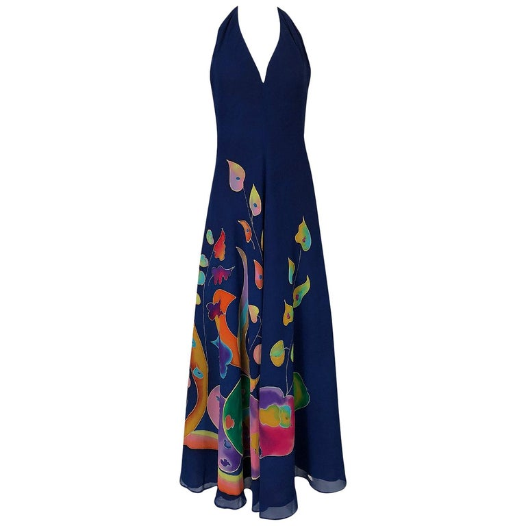 Unlabeled Karl Lagerfeld Chloe Hand Painted Halter Dress and Scarf, circa 1972